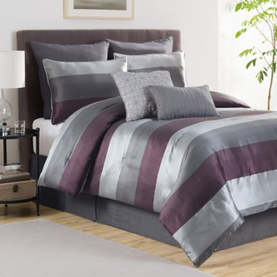 Victoria Classics Hudson 8-Piece Reversible Full Comforter Set in Plum