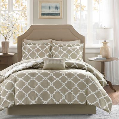 Madison Park Essentials Merritt 9-Piece Reversible King Comforter Set in Taupe