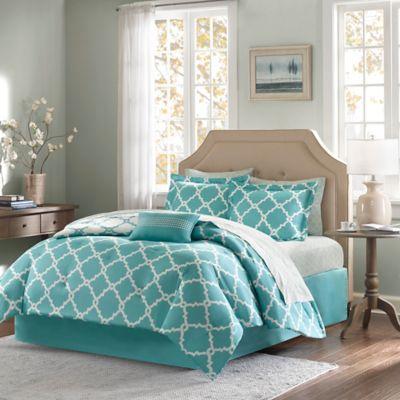 Madison Park Essentials Merritt 9-Piece Reversible King Comforter Set in Aqua