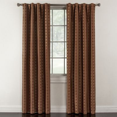 Milo 84-Inch Rod Pocket Lined Window Curtain Panel in Brick