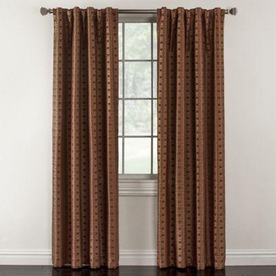 Milo 84-Inch Rod Pocket Lined Window Curtain Panel in Brick