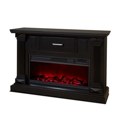 "LifeSmart Legacy 48"" Mantle Fireplace with Northern Lights FX in Black"