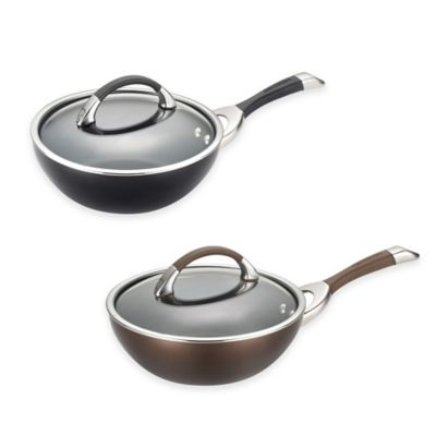Circulon® Symmetry™ Hard Anodized Nonstick 9.5-Inch Covered Stir Fry Pan in Chocolate
