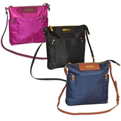 Adrienne Vittadini Travel Light Crossbody Bag with Saffiano Trim in Black