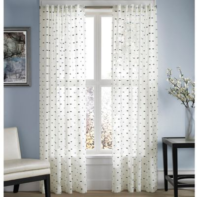 Captiva Sheer 108-Inch Rod Pocket Window Curtain Panel in Indigo