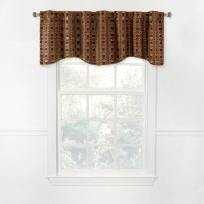 Milo 17-Inch Scalloped Lined Window Valance in Brick