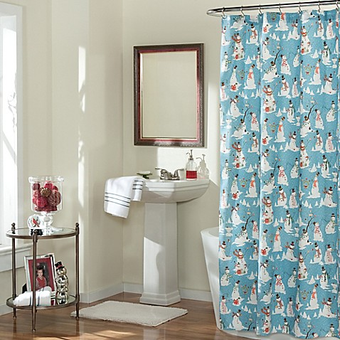 Snowman Folly Fabric Shower Curtain