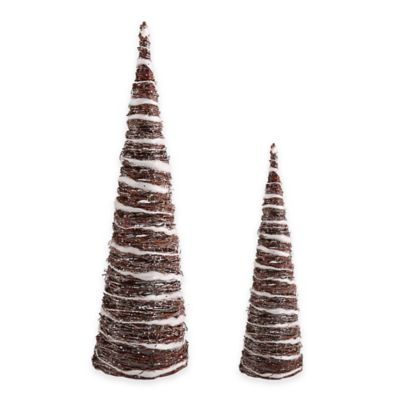 Woven Rattan Small Glittered Cone Tree in Brown