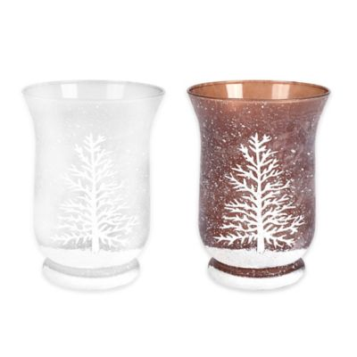 Frosted Pine Tree 6-Inch Glass Hurricane in White