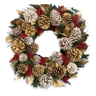 20-Inch Pinecone Holiday Wreath in Gold