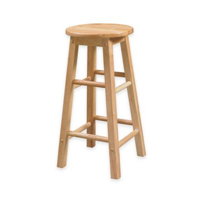 Classic 29-Inch Wood Barstool with Round Seat in Natural Finish