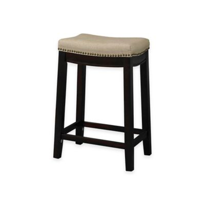 Allure Fabric Top 24-Inch Counter Stool in Dark Walnut
