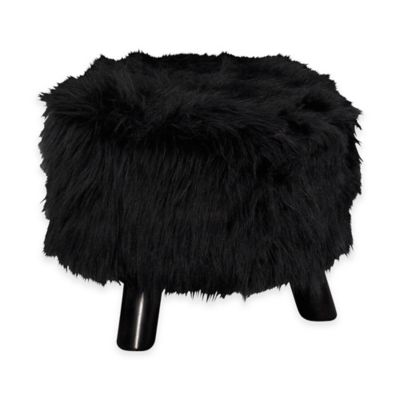 Faux Flokati 16-Inch Round Foot Stool in Black