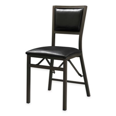 Arista Padded Back Folding Accent Chair in Brown