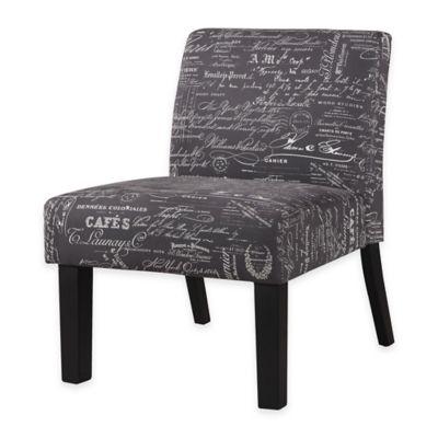 Script Print Accent Chair