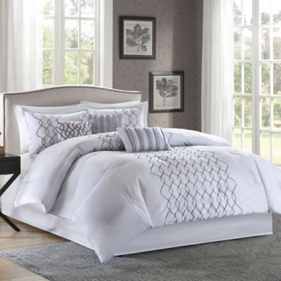 Madison Park Iris 7-Piece Queen Comforter Set in Silver