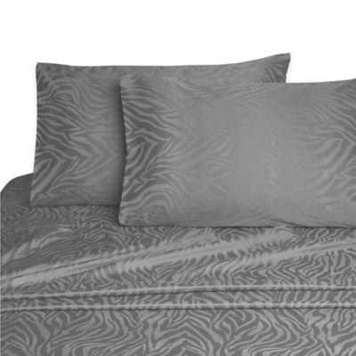 Zebra Jacquard Twin Sheet Set in Pewter