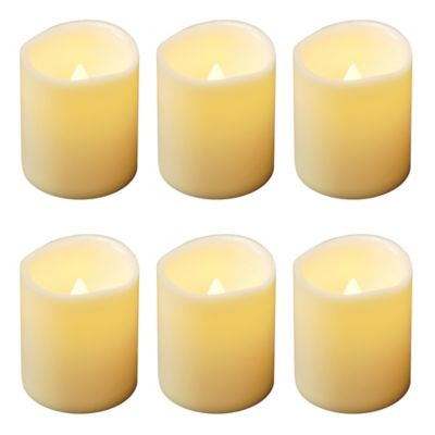 Flickering Battery-Operated Mini-Pillar Candles in Amber (Set of 6)