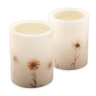 Dried Flower LED Flameless Wax Candle (Set of 2)