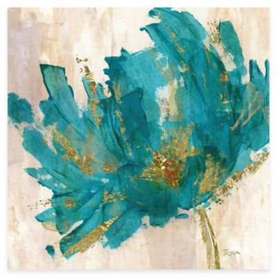 Contemporary Teal Flower I Canvas Wall Art