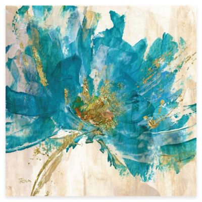 Contemporary Teal Flower II Canvas Wall Art
