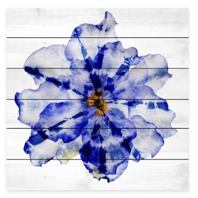 Blue and White Flower 32-Inch x 32-Inch Wood Wall Art