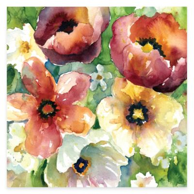 Watercolor Flowers II Floral Canvas Wall Art