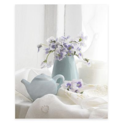 Violets and Tea Pot Canvas Wall Art
