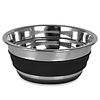 Small Stainless Steel Pet Bowl with Black Stripe