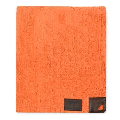 Tall Tails® Microfiber Bone Print Grooming Towel in Orange
