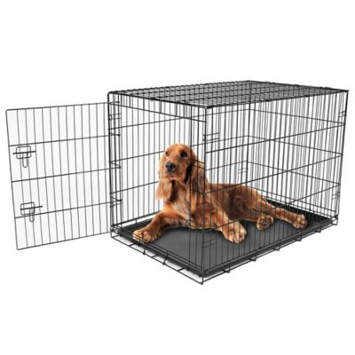 Intermediate Secure & Compact Single Door Dog Crate in Black