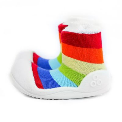 Attipas® Baby Shoes Size 3.5 Rainbow in White