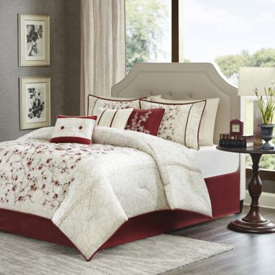 Madison Park Blossom 7-Piece King Comforter Set in Red/White