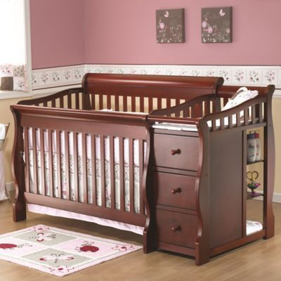 Sorelle Tuscany 4-in-1 Convertible Crib and Changer in Cherry