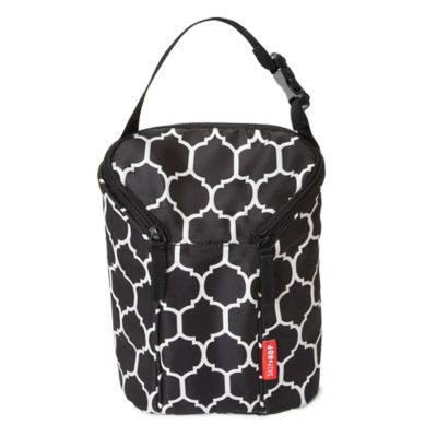 SKIP*HOP® Onyx Tile Grab & Go Double Bottle Bag in Black/White