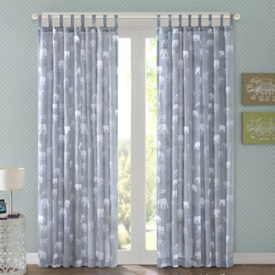 Regency Heights Elephant 63-Inch Tab Top Window Curtain Panel in Grey