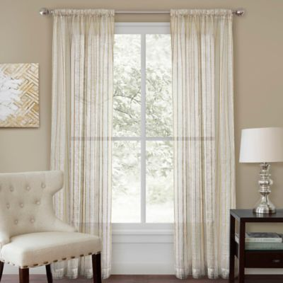 Firna 84-Inch Sheer Rod Pocket Window Curtain Panel in Natural