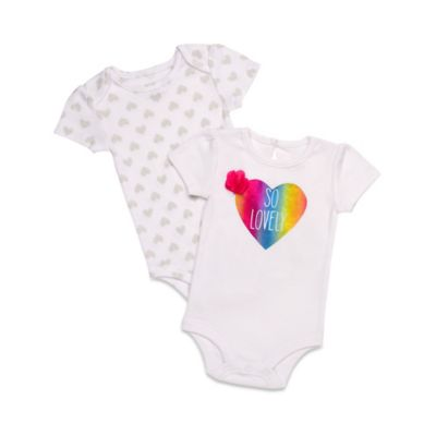 """Baby Starters® Size 6M 2-Pack """"So Lovely""""/Heart Bodysuits in White/Multicolor"""