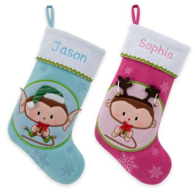 Jingle Baby Monkey Elf Christmas Stocking in Blue