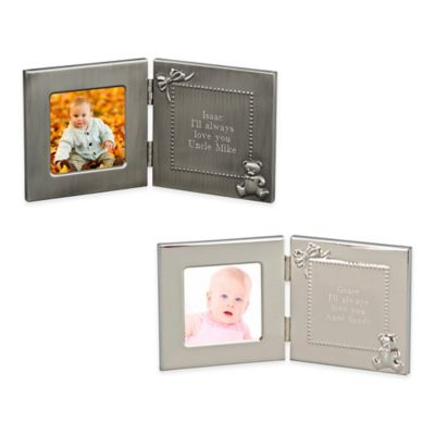 3-Inch x 3-Inch Picture Frame with Engraving Plate in Brushed Silver