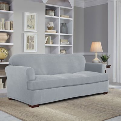 Perfect Fit® Easy Fit 2-Piece T-Sofa Slipcover in Grey