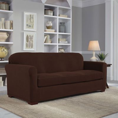 Easy Fit 2-Piece Sofa Slipcover in Chocolate
