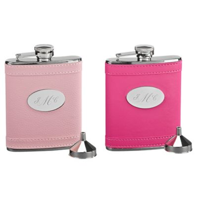 Stainless Steel and Leatherette Flask in Hot Pink