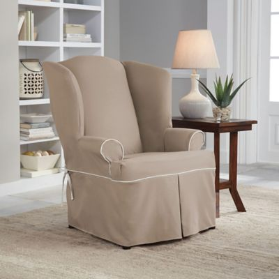 Perfect Fit® Classic Twill Wing Chair Slipcover in Taupe