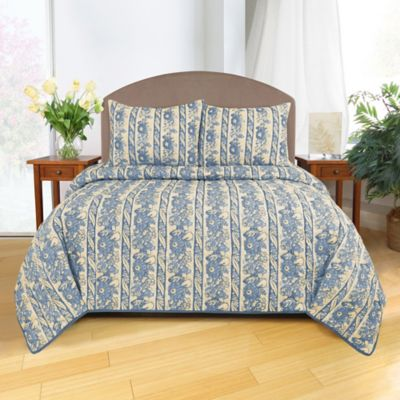 Park B. Smith Le Flaive Full/Queen Quilt in Denim