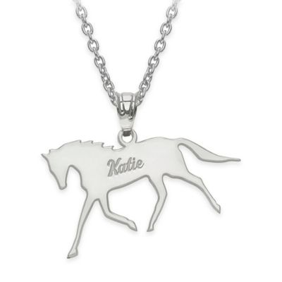 Script Name Polished Horse Pendant Necklace