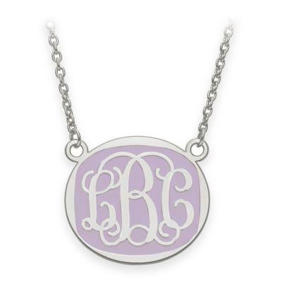 Sterling Silver Medium 18-Inch Chain Script Letters Enamel Oval Pendant Necklace