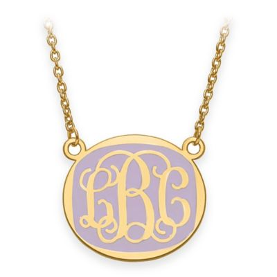 Gold-Plated Sterling Silver Medium 18-Inch Chain Script Letters Enamel Oval Pendant Necklace