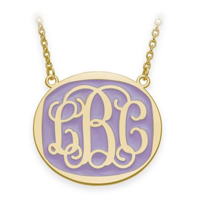 Sterling Silver Large 18-Inch Chain Script Letters Enamel Oval Pendant Necklace