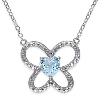 Sterling Silver 1.0 cttw Heart-Shaped Blue Topaz 18-Inch Chain Butterfly Pendant Necklace